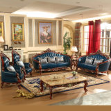 Living Room Furniture with Wooden Leather Sofa Set (521)
