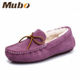 Double Face Australia Merino Sheepskin Moccasin Home Shoes in Purple