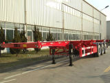 3 Axles 20FT 40FT Flatbed Semi Trailer 2 Axles Container Semi Truck Flatbed