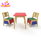 Wholesale Cheap Colored 1 Table 2 Chair Set Wooden Children Study Table and Chair with Storage Function W08g237