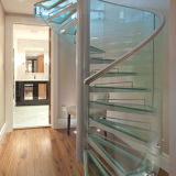 Custom Stainless Steel Tempered Glass Tread Spiral Staircase
