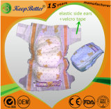 Big Elastic Ears Stretchable Tape Baby Diapers for European Market