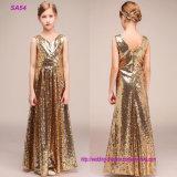 Kid Lovely Flower Girl Dresses Gold Sequins Ball Gown for Wedding