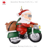 Resin Crafts OEM Santa Claus Motorcycle Christmas Tree Ornament