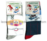 Cotton Christmas Socks with Snow Man Design
