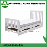 Pine Wood Bedroom Sleigh Slat Bed in Single Size