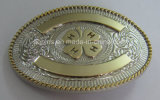 Oval 3D Alloy Belt Buckle with 2-Tone Plating (Belt buckle-014)