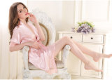 Wholesale Sleepwear Nightwear Women's Sexy Silk Lace Pajamas Robe Dress