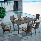 Stackable Aluminum Wicker Outdoor Furniture Garden Dining Set Chair with Table by 8-10person Using (YTA362-1&YTD020-4)
