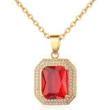 Costume Fashion 18K Gold Plated Imitation Charm Necklace Silver Jewelry with Pendant for Women