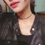 Two Colors Metal Beads Black Leather Rope Choker Necklaces