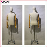 Fabric Wrapped Male Torso Mannequin with Wooden Arm