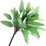 4 PCS Artificial Real Touch Realistic Eucalyptus Leaves Indoor Outdoor Plant Wedding Party Kitchen Bedroom Living Room Bathroom Decoration Home Decor