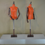 Fashionable PU Wrapped Female Torso Mannequin with Wooden Arm
