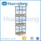 Stacking Wire Mesh Storage Pallet Cage with Wooden Pallet