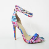 2017 New Design Lady Fashion High Heel Sandal Shoes with Floral Print