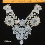 35*35cm Vintage Appliques Hollowed Gold Embroidery Collar Fashion Costume Decoration Appliques with Butterfly Flower Hme945