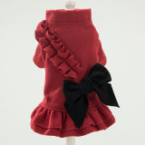 Holiday Dog Woolen Christmas Dress Bows Pet Skirt Lace Clothings