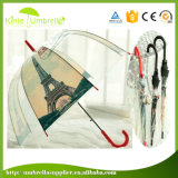 Straight Automatic Open Transparent Poe Umbrella with Building Printing