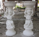 Carved Stone Flower Pot for Garden Sculpture (QFP323)