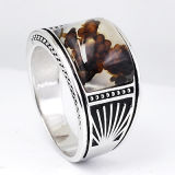 New Designs 925 Sterling Silver Men Rings with Natural Stone