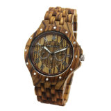 Custom 3ATM Water Resistant Quartz Multifunction Wooden Watch for Gift