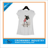 Girls White Cotton T Shirt with Customized Screen Printing
