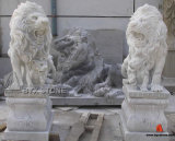 White & Black Marble Animal Stone Garden Lion Sculptures