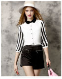 Latest Fashion Chiffon Lady′s Blouse with Stripe Sleeves