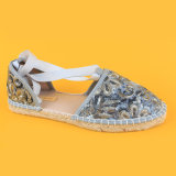 Womens Fashion Sequin PU Leather Silver Lace up Espadrilles Sandals