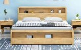 Hot Sale Nordic European Style Bedroom Furniture King Queen Size Wooden Storage Function Bed