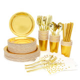 High Quality Use for Birthday Wedding Party Restaurant Food Grade Disposable Gold Paper Tableware Set