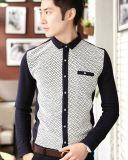 Long Sleeve Leisure/Casual Standing Collar Fashion Men Shirt