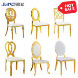 Stainless Steel Luxury Golden Stacking Modern Round Back Metal Hotel Restaurant Wedding Banquet Chiavari Dining Chair