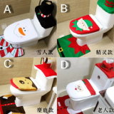 Christmas Santa Snow Man Home Furniture Decoration Velvet Cover for Toilet and Chair