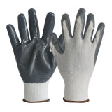 China Supplier Protection White Gray 13G Polyester Liner Nitrile Coated Cheap Work Safety Gloves