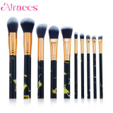 10PCS Black Cosmetic Marble Makeup Brush Set for Beauty
