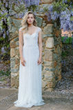 Cap Sleeves Wedding Dresses Beaded Bohemian Bridal Gowns Ld1515