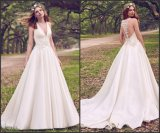 Sleeveless Satin Ball Gown Beaded Appliqued Lace Simple Bridal Gown We116