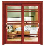2018 New Interior Wooden Color Glass Aluminum Sliding Door