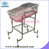 Bbc005 Hot Sale Hospital Stainless Steel Baby Cot with Basket