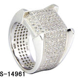 Hip Hop Jewelry Men′s Stuff 925 Pure Silver Micro Pave CZ Men Ring. (S-14961)