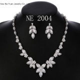 Women′s Silver-Tone Cubic Zirconia Marquise Shape Leaf Necklace Earrings Set for Brides and Weddings