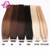 Wholesale Price 12--28inch 100% Human Hair Blue White Invisible Tape in Double Drawn Remytape Hair Extension