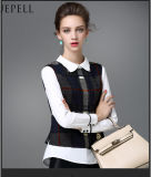 Plaid Tailcoat Long Sleeves Chiffon Lady Blouse