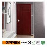 Oppein Brown Vertical Stripes PVC Interior Hinged Door P611