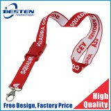 Promotion Cheap Customized Logo Climbing Button Carabiner Woven Lanyard