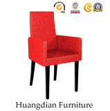 Red PU Restaurant Furniture Wooden Dining Chair Armchair