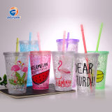 Customized Reusable Eco Cheap Gift Plastic Double Wall Cup with Straw and Lid for Water