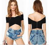 OEM Hot Sale V-Neck Sexy Black Women Crop Top
